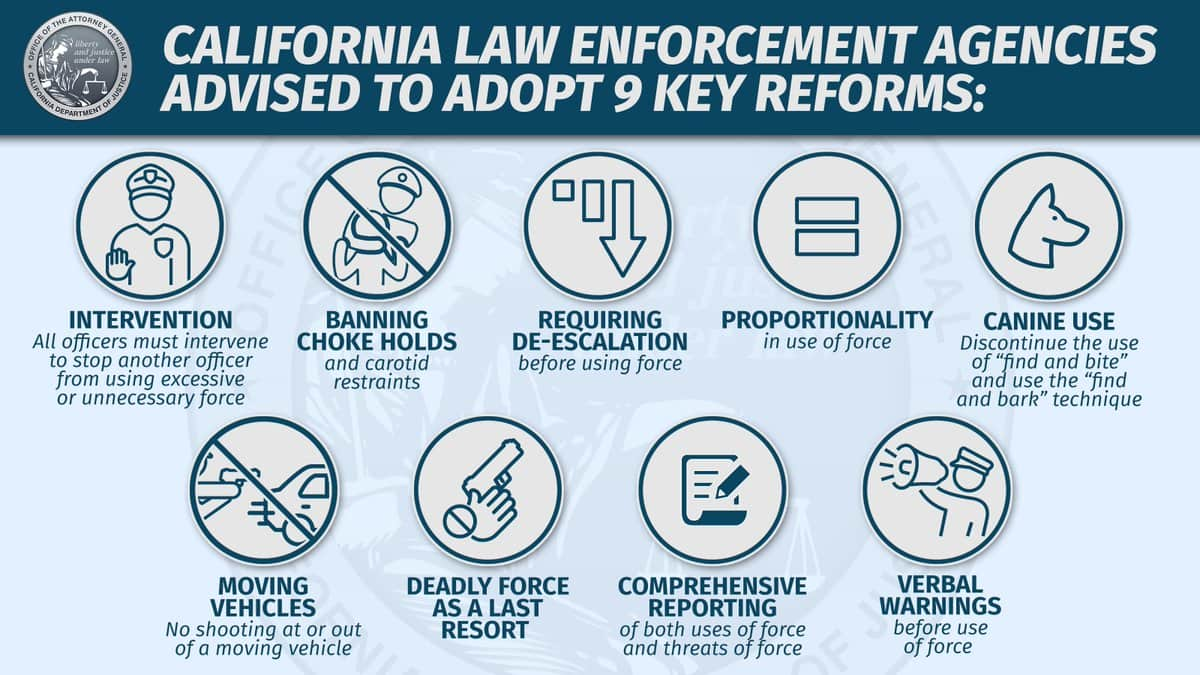 Graphic of 9 Key Police Reforms recommended by California AG Xavier Becerrao