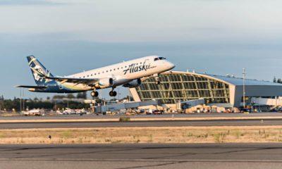 Photo of an Alaska Airlines jet taking off at Fresno Yosemite International Airport
