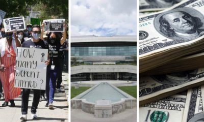 collage of Fresno police protests, City Hall and $50 bills signifying the Fresno city budgets