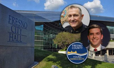 Montage of Fresno City Hall, police chief Andy Hall and councilman-elect Tyler Maxwell C