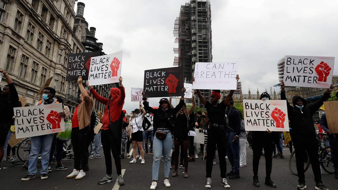 Photo of protesters in London