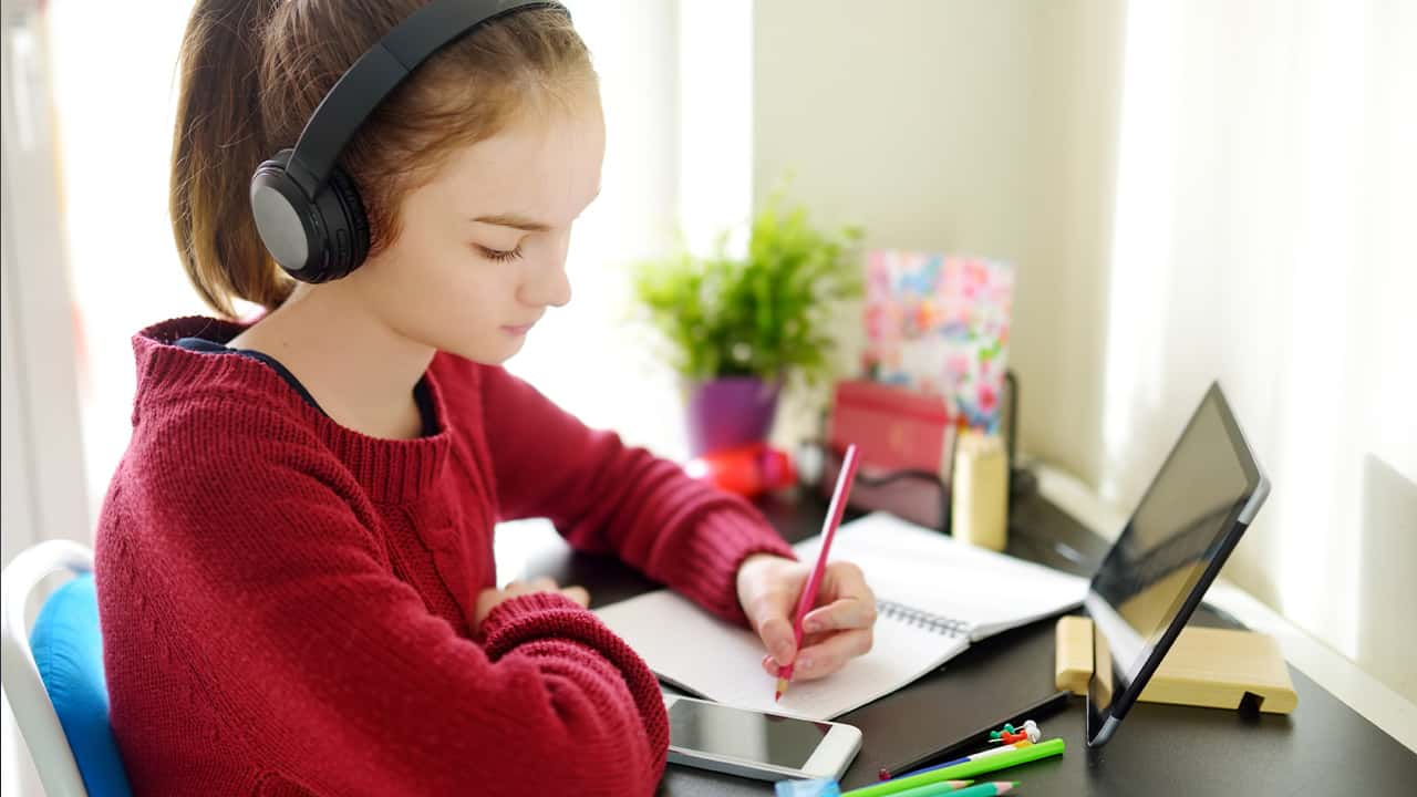 Image of a preteen student engaged in distance learning