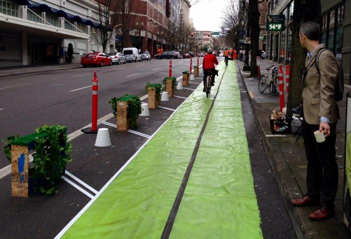 Image of a protected bike lane demonstration in Portland, Oregono