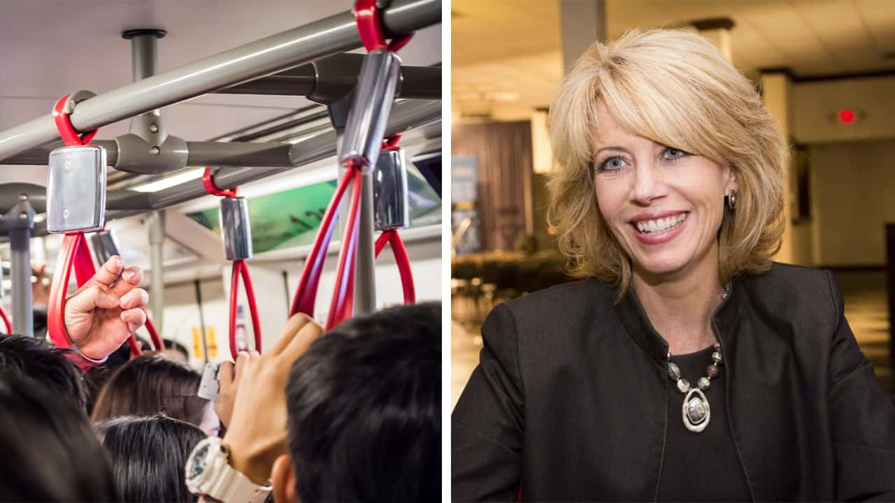 Side-by-side images of a bus interior and former Fresno Mayor Ashley Swearengin