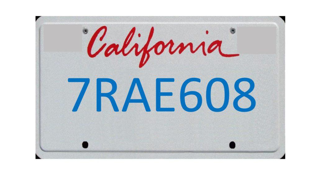 Image of California license plate 7RAE608