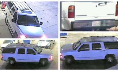 A four-panel collage of 2002 Chevrolet Suburban belonging to homicide victim Tina Woods, 39, of Fresno, California
