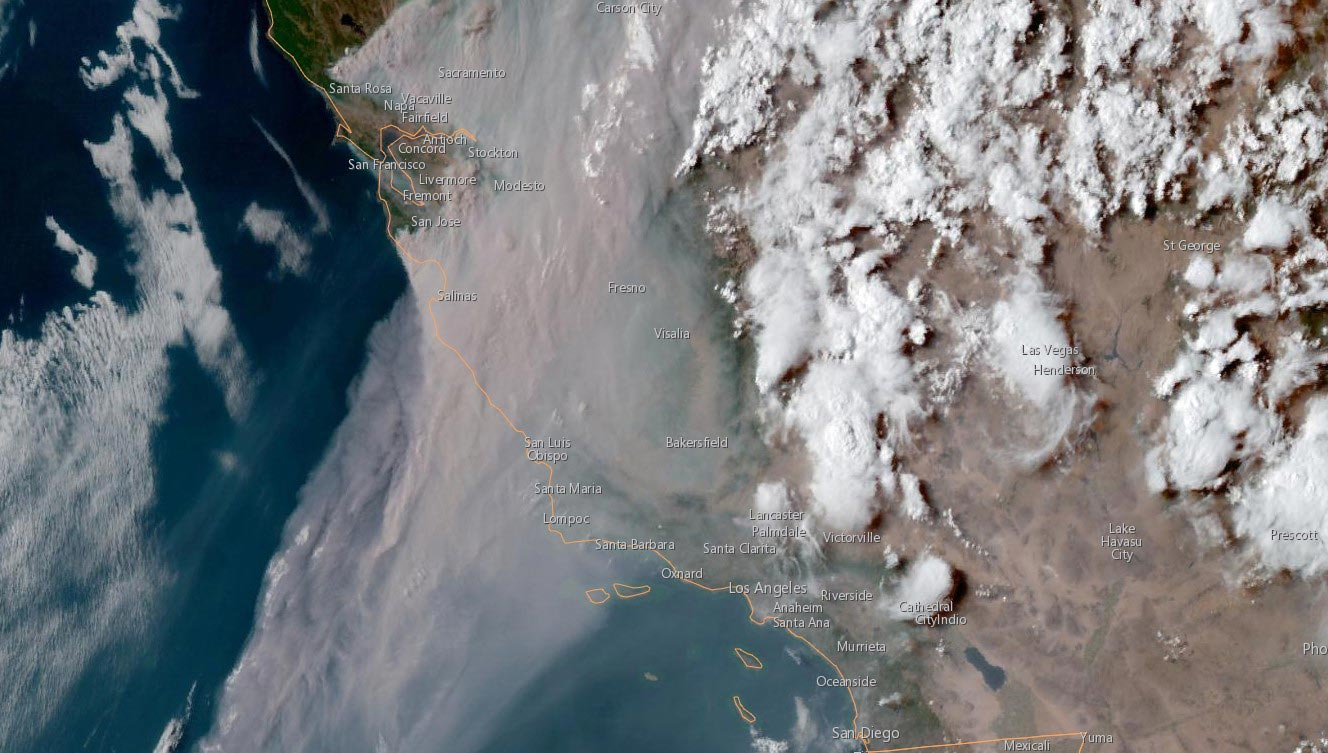 California, as seen from a satellite, as 367 wildfires burn throughout the state on Thursday, Aug. 20, 2020.