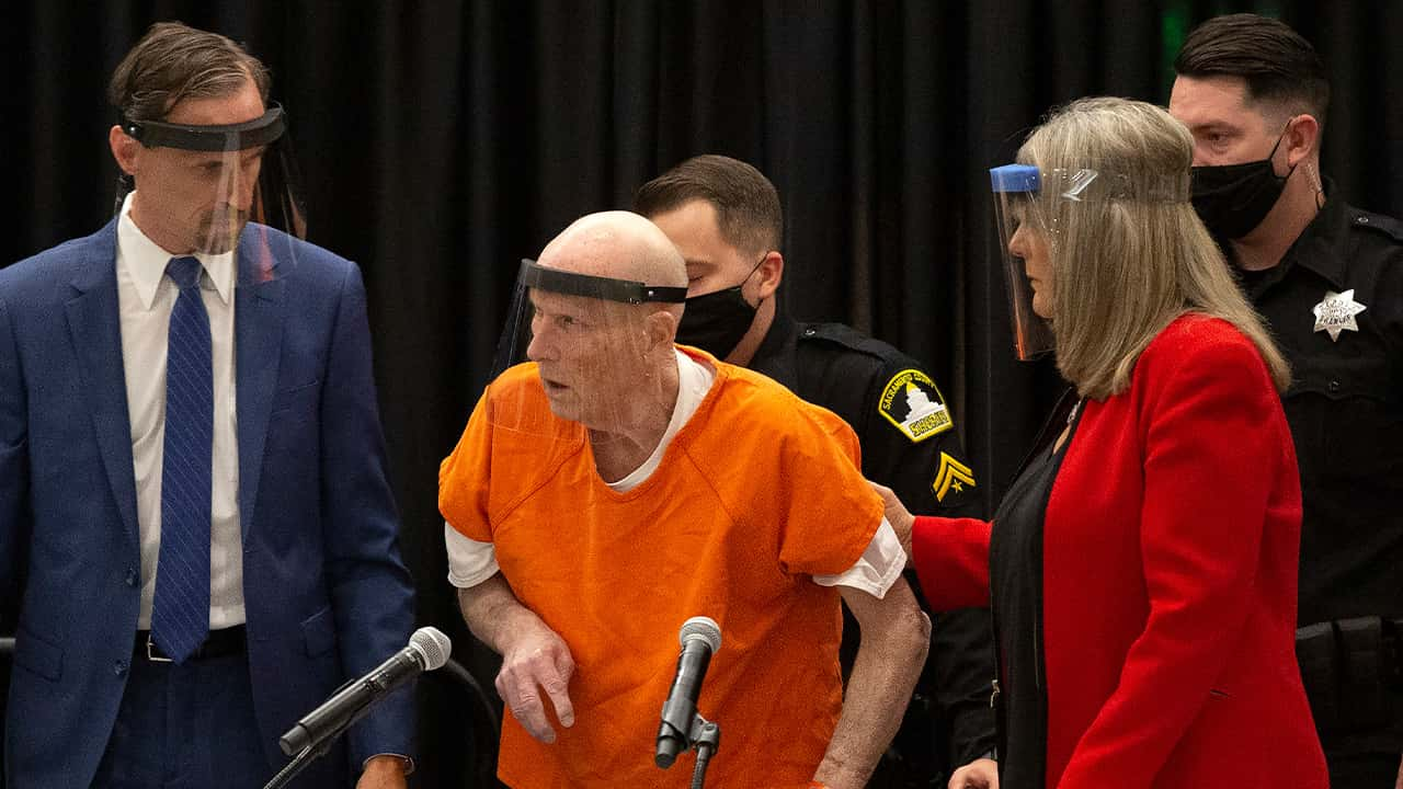 Photo of Joseph James DeAngelo, center, charged with being the Golden State Killer