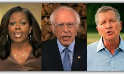 Photo of former first lady Michelle Obama, Sen. Bernie Sanders, I-Vt., and former Republican Ohio Gov. John Kasich