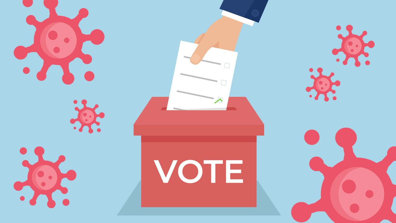 Illustration of voting during the coronavirus pandemic