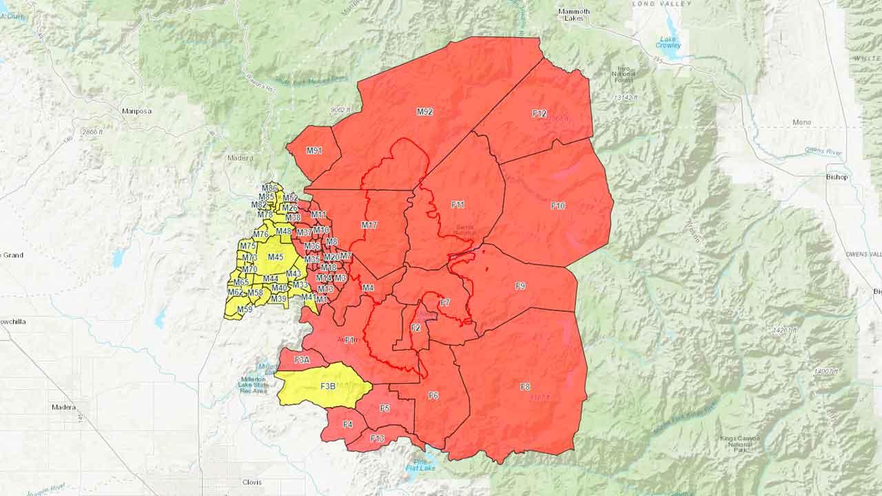 Map of Creek Fire evacuation zones