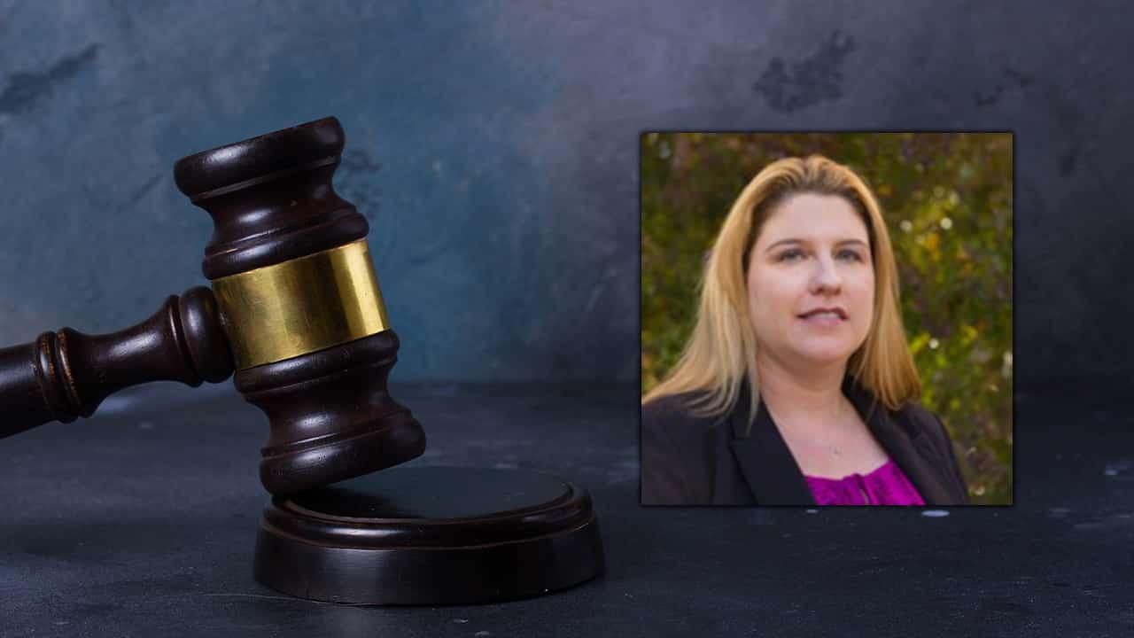 Portrait of Erin Brooks superimposed into a court scene